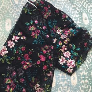 Sheer Floral Embroidered Shirt